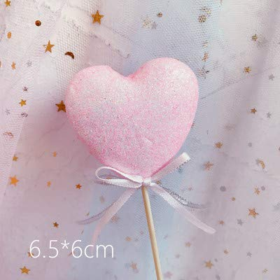 MALAT Its a Girl Pink Theme Cake Toppers Happy Birthday Heart Star Cake Top Flags Decorations for Baby Shower Girl Party Supplies,1pc