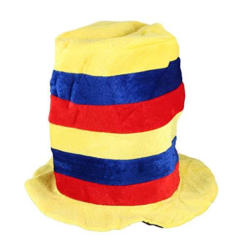 Amosfun Fiesta Payaso Sombrero de Copa Traje de Payaso Sombrero de Escenario Juego de Simulación Payaso Gorra de Circo Cosplay Cabeza Sombrero para Fiesta Carnaval Bola Festival Estilo 1