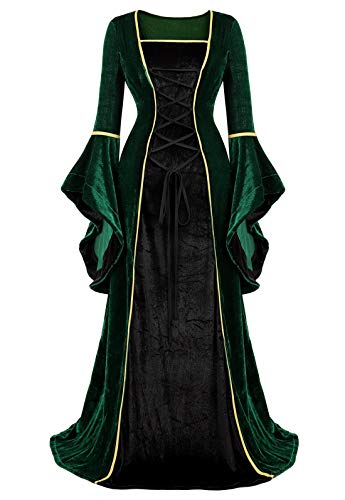 Renaissance Dress Medieval Costume Women Halloween Costumes Midevil Faire Gothic Gown Black Green-S