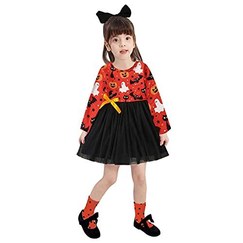 YWLINK Vestido De Malla De Halloween para NiñOs Tutú para Bebé Malla Vestidos para NiñAs ImpresióN De Lunares Princesa Falda De Tul De Fiesta con Bowknot PompóN Piel Manga Larga AlgodóN Punto Lindo