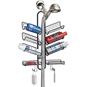 mDesign Metal Wire Bathroom Tub & Shower Caddy, Hanging Storage Organizer - Built-in Hooks and 8 Shelves for Bathroom Shower Stall, Tub - Open Center Design for Hand Held Shower Heads - Matte Black