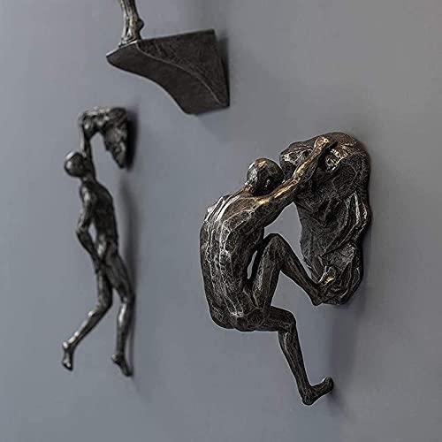 3 pz Climben Uomini Grandi Statue di Sport Estremi Sculture in Resina Arrampicata Figurine Diving Pendente Appeso A Parete Statua Soggiorno Decorazione della Parete,A