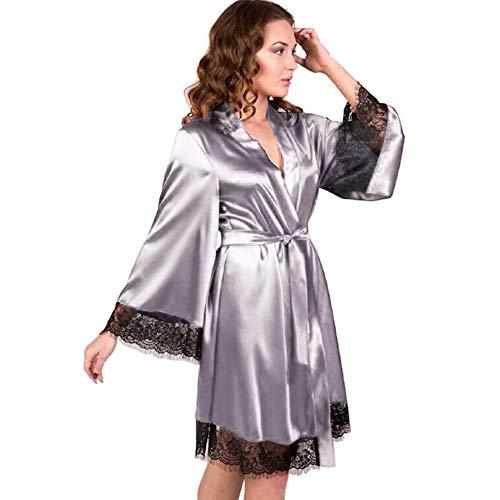 Verano mujer lencería Kimono corto encaje vestido Gown manga ancha falda...