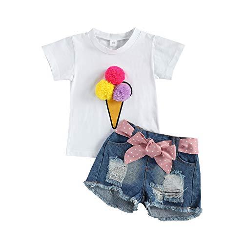 ChouZZ Conjunto de camiseta con pompón de helado para niña, pantalones cortos de mezclilla con cinturón de puntos, 1-6T