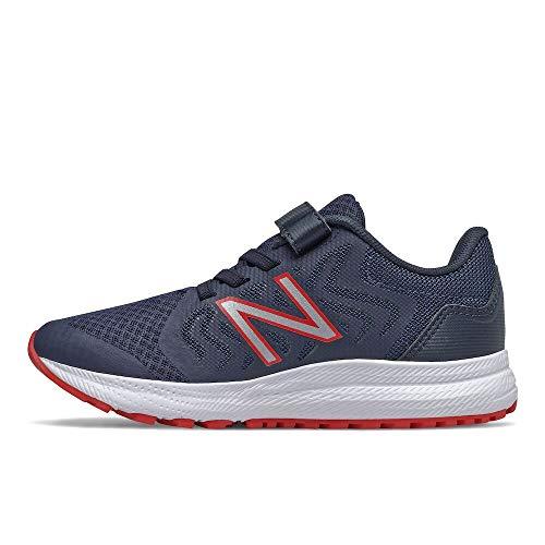 New Balance 519 V2 Alternative Closure Running Shoe, Natural Indigo/Eclipse/Team Red, 12.5 Wide US Unisex Little_Kid