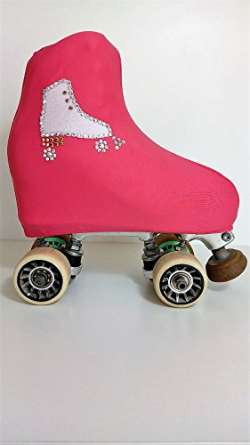 Kissenbezüge deckt Schlittschuhe pink verziert mit Patin weiß und SWAROVSKIS