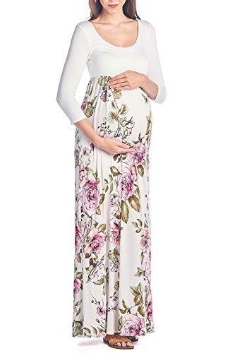 Beachcoco Maternity 3/4 Sleeve Flower Printed Maxi Dress (XL, Ivory Flower)