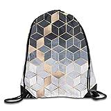 Lawenp Plegable Soft Blue Gradient Cubes Drawstring Bag, Sports Cinch Sacks String Drawstring Backpack for Picnic Gym Sport Beach Yoga