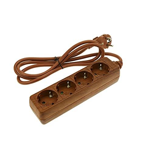 BeMatik - Regleta de enchufes 4 schuko 16A 250V madera con cable de 1.5m