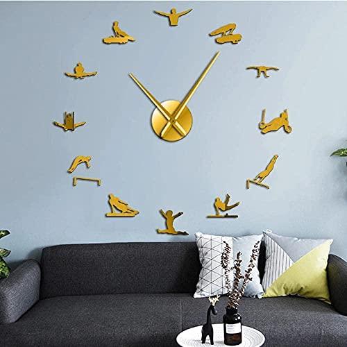 Mens gynmastics Hombres Fuertes Arte de Pared Grande sin Marco Gigante silencioso Reloj de Pared Reloj Hombre Gimnasta DIY Pegatinas de Espejo decorativas-47 Pulgadas