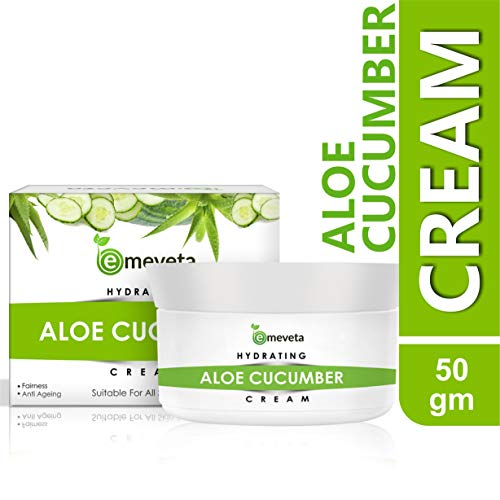 Emeveta Natural Aloe Vera Cucumber Face Cream Men and Women For Anti Aging Moisturiser Glowing (50g)