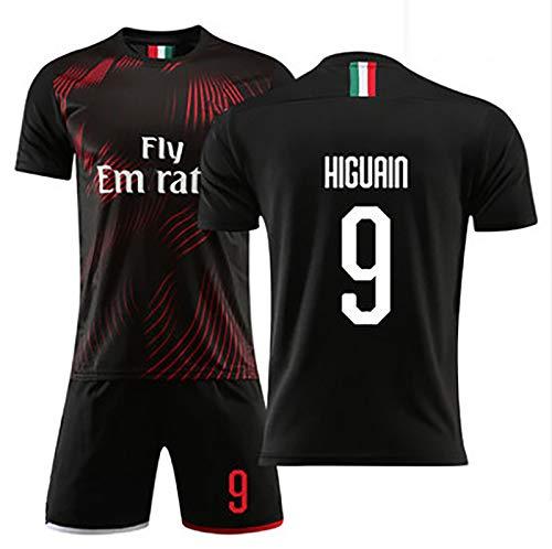 Erwachsene und Kinder Fussball Jersey Sports T-Shirt, Mailand Jersey 2020 Jersey, Home/Away Set 9 Higuain Football Jersey, Geschenk für Fans Black-#22