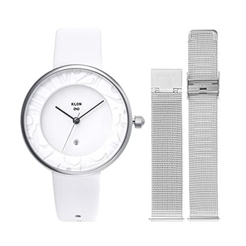 腕時計 替えベルト セット メンズ レディース 2way ホワイト シルバー 人気 ブランド おしゃれ レザー 36mm KLON INFINITY STAIR series -RONDO TIME- [36/W-FACE]