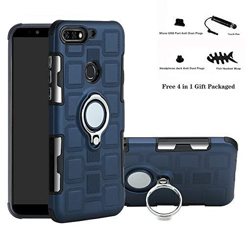 Huawei Y7 / Honor 7C / Enjoy 8 case,Labanema Hybrid Dual Layer 360 Degree Rotation Ring Holder Kickstand Armor Slim Protective Cover for Huawei Y7 2018 / Honor 7C / Enjoy 8 - Navy Blue