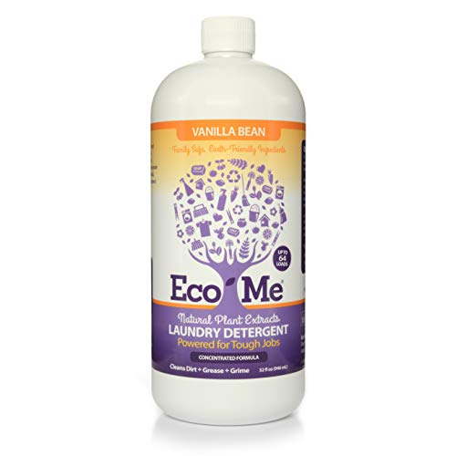 Eco-me Plant Based Concentrated Laundry Detergent, Clear, Vanilla, 32 Fl Oz (Pack of 1)