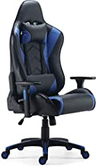 """Sold as 1 Each. Black and blue gaming chair. Bonded leather back and seat. 135 degree recline. Adjustable height, arms, tilt tension and tilt lock. Comes with an additional head and lumber pillows. Overall Dimensions: 49.9"""" - 53.8"""" H x 29.2"""" W x 27.6..."""