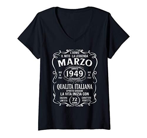 Donna 72 Anni Compleanno Uomo Donna Regalo Vintage Marzo 1949 Maglietta con Collo a V