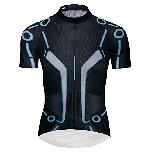 Lo.gas Herren Radtrikot Kurzarm USA Style Bike Shirts Biking Kleidung Full SBS Reißverschluss Fahrrad Trikots mit Taschen - Blau - XX-Large