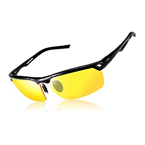 SGODDE Gafas de Conducción Nocturnas, Gafas de Sol Deportivas Polarizado Anti-UV Revestimiento Antirreflectante Antideslumbrante Hombre y Mujer (Amarillo)
