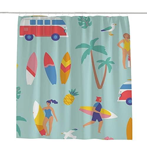 CHEHONG Cortina de ducha de poliéster con diseño de dibujos animados para el verano, decoración moderna, lavable a máquina, incluye ganchos en forma de C de 156 x 172 cm