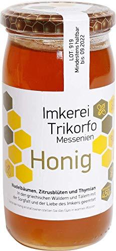 ARISTOS original griechischer Waldhonig Art aus Wildblüten, Pinie, Tanne, Orangenblüten und Thymian – 450g feinster kretischer Honig mit außergewöhnlichem Aroma und bestem Geschmack