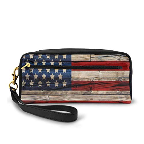 Pencil Case Pen Bag Pouch Stationary,Wooden Planks Painted As United States Flag Patriotic Country Style,Small Makeup Bag Coin Purse