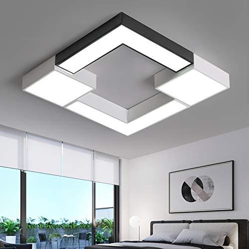 BFMBCHDJ Quadratische Metallbeleuchtung Leuchte Moderne LED-Deckenleuchte für Wohnzimmer Schlafzimmer Naturweiß 60x60x6cm 36W