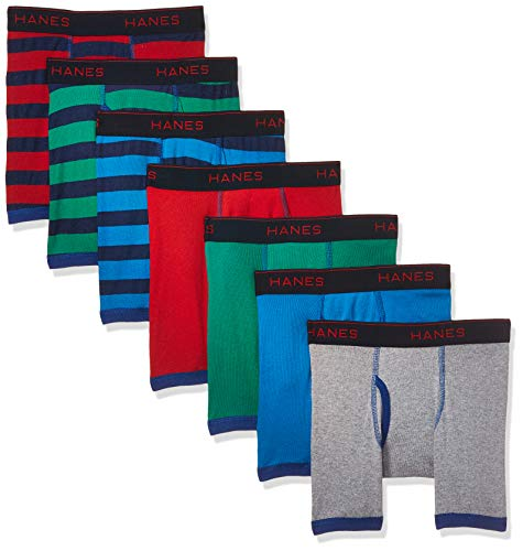 Hanes Boys' Comfort Flex Fit Sport Ringer Boxer Briefs, Assorted, Medium, 7 pieces