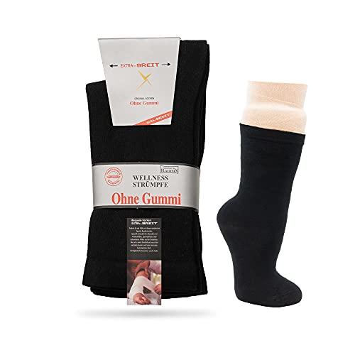 NewwerX 2 Paar Gesundheitssocken Extra Breit   Baumwolle oder Wolle   Wellnesssocken mit Komfortbund Extra Weit ohne Gummi, Kein Einschneiden, OEKO-TEX Standard (Schwarz   Normal, 43-46)