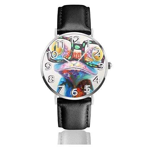 Reloj de Pulsera Colorido Happy Frog Gafas Durable PU Correa de Cuero Relojes de Negocios de Cuarzo Reloj de Pulsera Informal Unisex