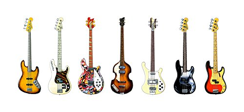 George Morgan Illustration Bass-Gitarre Panorama drucken. 7 berühmte Bass-Gitarren
