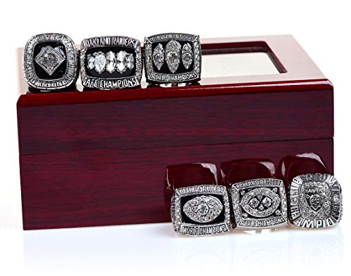 MT-Sports Oakland Raiders Championship Rings Sliver Full Set Replica Gift Collection Size 11 with Display Case
