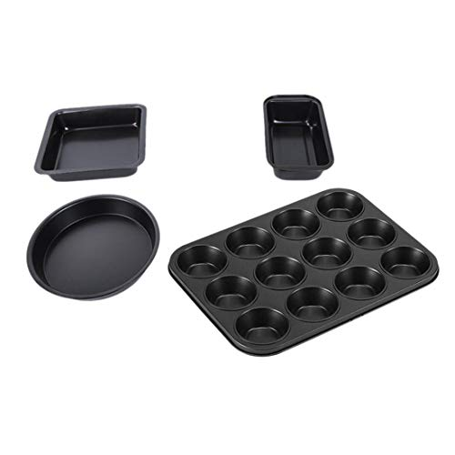 Camisin Non-Stick Baking Pan Set,4 Baking Pans Toast Pan,Square Cake Pan,8 Inch Pizza Pan,Cake Pan,12 Cups Muffin Pan