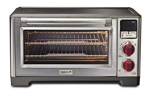 Wolf Gourmet Elite Digital Countertop Convection Toaster Oven with Temperature Probe, Stainless Steel and Red Knobs (WGCO150S)