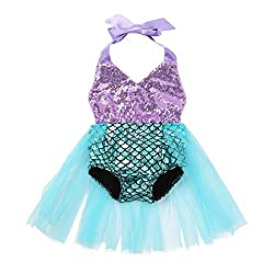 Swimsuit is made of polyester, mesh and sequins material, hand wash Size Table means age ranges for baby girls, but they are for general guidance only Halter neck, V-neckline, top bodice front with sequins for decoration, backless design. Elastic leg...