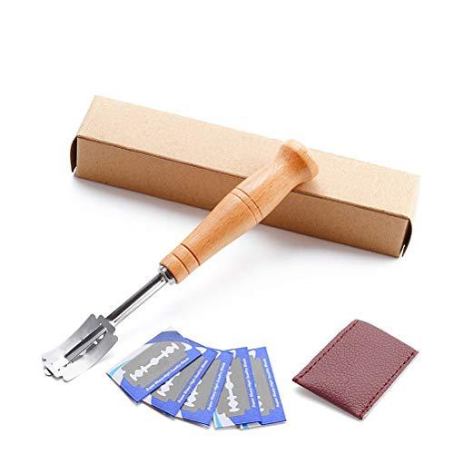 BSTOPSEL Deeg maken Razor Kits Houten handvat Brood snijgereedschap met 5 messen Bakkerssnijder