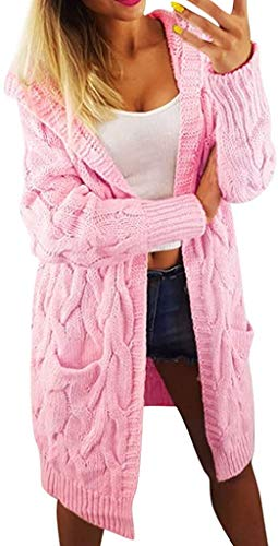 Top Fashion18 Women's Plus Cable Knitted Open Pocket Jacket Casual Ribbed Plain Cardigan Chunky Long Sleeve Coatigan One Size 8-22 Rose Pink