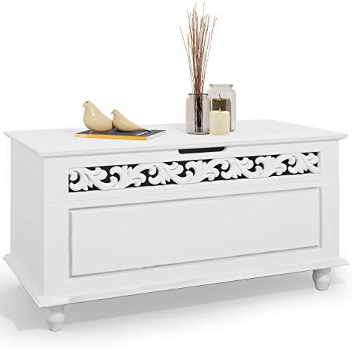 Deuba Arcón de Madera Blanco Cofre con Diseño rústico Banco de Asiento 80 x 40 x 48 cm Caja baúl Almacenamiento y decoración