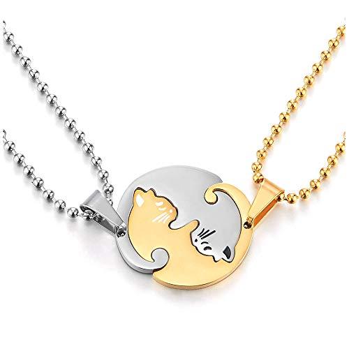 iMETACLII Un Par Acero Inoxidable Gato Emparejado Collar Colgante para Hombre Mujer Amantes Parejas Amigos, Plata Oro