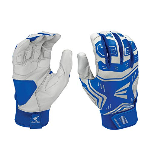 EASTON VRS POWER BOOST Batting Glove | Pair | Baseball Softball | Adult | Large | Royal / Grey | 2020 | VRS Pad Reduces Vibration & Blisters | Tacky Palm | Flexible Lycra | Comfort Neoprene Strap