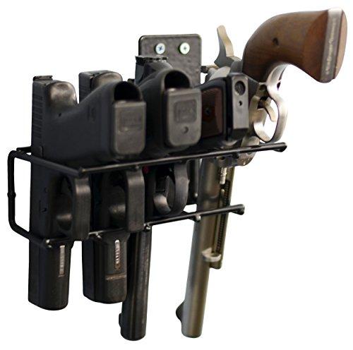 BOOMSTICK 4 Gun Handgun Black Vinyl Coated Pistol Wall Mount...