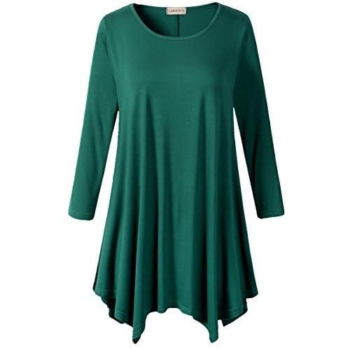 548ef1d3d10 LARACE Women Plus Size 3/4 Sleeve Tunic Tops Loose Basic Shirt