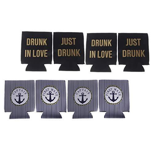 Colcolo 8 Piezas Captain First Mate Botella de Cerveza Puede Enfriador de Neopreno Titular Favor de Fiesta - Azul Negro, Individual