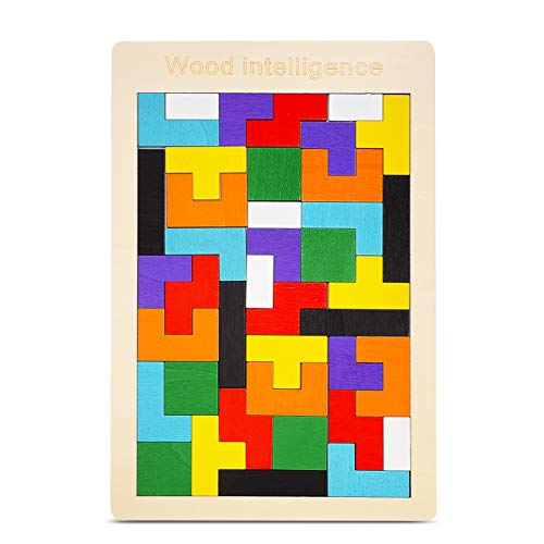 LET'S GO! Puzzles for Kids Ages 4-8, Wooden Tetris Puzzle Brain Teasers Toys for 3-8 Year Old Girls Boys Education Building Blocks Games Tangram Jigsaw Puzzle Presents for 3-8 Year Old Girls