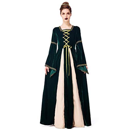 PROTAURI Damen Halloween Königin Kostüm - Frauen Langarm Mittelalter Kleid Gothic Retro Kleid Renaissance Prinzessin Cosplay Party Outfit/S-XL