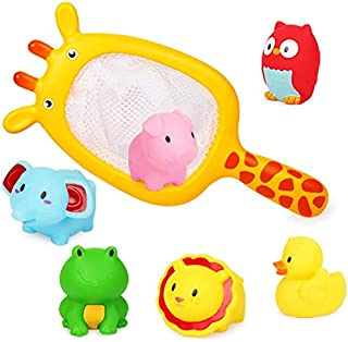 AMERTEER Baby Bath Toys, Scoop Net Fish Pool Toys with Spray, Sounds, Color Changing Toddler Bathtub Toys