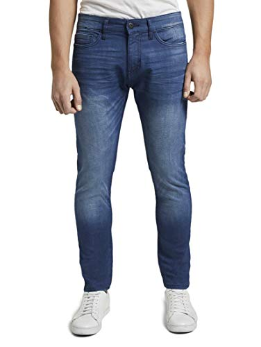 TOM TAILOR Herren Troy Slim Jeans, Washed Coated Blue Denim, 38/32