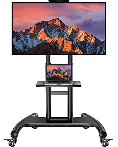 Rolling/Mobile TV Cart with Wheels for 32-70 Inch LCD LED 4K Flat Screen TVs - UL Certificated TV Floor Stand with Shelf Holds Up to 100 lbs, Height Adjustable Trolley Max VESA 600x400mm- PSTVMC05