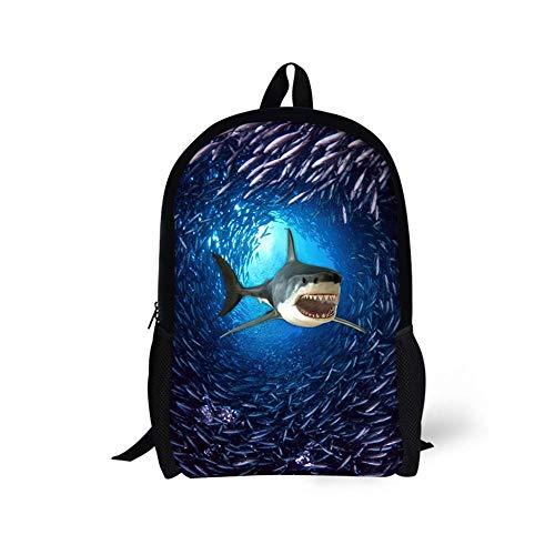 Mochila Escolar con Estampado 3D de tiburón Animal Divertido para niños, niñas, niños, Mochila Escolar, Mochilas Escolares, Bolsa de Libros para niños A