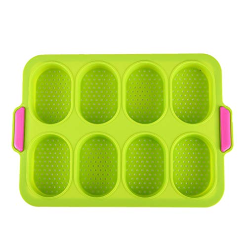 WiseLight Mini Baguette Baking Tray Silicone Perforated French Bread Baking Pan DIY Bread Crisping Tray Loaf Baking Mold Delicious Breadstick Bread Rolls Muffin Pan, Green